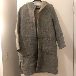 Eileen Fisher Grey/Tan hooded wool alpaca coat